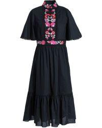 Kate Spade - Woman Embroidered Cotton-poplin Midi Dress Black Size 2 - Lyst