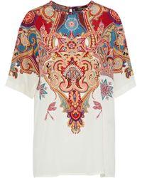 Roberto Cavalli - Woman Printed Silk Crepe De Chine Top Multicolor - Lyst