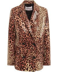 Stand Studio Leopard-print Coated Faux Snake-effect Leather Blazer Animal Print - Brown