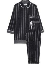 DKNY - Woman Striped Woven Pyjama Set Black - Lyst