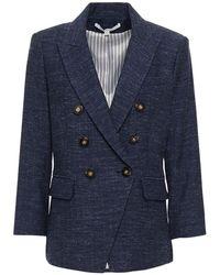 Veronica Beard Empire Dickey Doppelreihiger Blazer Aus Einer Baumwoll-leinenmischung Und Fischgrätwolle Größe 2 - Blue