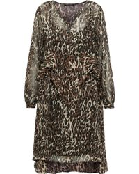 W118 by Walter Baker Adam Ruffled Leopard-print Chiffon Dress Brown