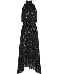 A.L.C. - Shirred Printed Metfil Coupé Silk-blend Midi Dress - Lyst