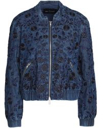 Needle & Thread - Embroidered Denim Bomber Jacket Dark Denim - Lyst