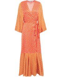 Rodebjer Millie Panelled Printed Satin Midi Wrap Dress - Orange