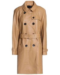 COACH Leather Trench Coat Camel - Natural