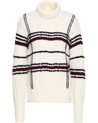 Joie Checked Cable-knit Wool-blend Turtleneck Sweater Ivory - White