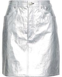 Rag & Bone Metallic Cracked-leather Mini Skirt Silver