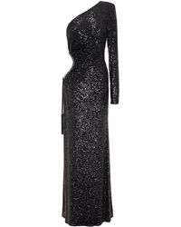 Dundas One-shoulder Cutout Sequined Tulle Gown - Black