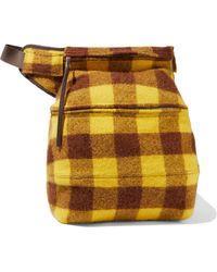 Rick Owens Fertility Checked Brushed-felt Belt Bag Brown