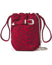IRO Belty Buckled Leopard-print Suede Bucket Bag - Red