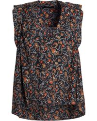 Isabel Marant - Ruffle-trimmed Floral-print Silk Crepe De Chine Top - Lyst