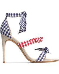 Alexandre Birman - Bow-embellished Suede-trimmed Metallic Woven Sandals - Lyst