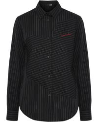 Love Moschino - Embroidered Pinstriped Cotton-twill Shirt - Lyst