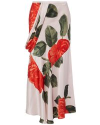 Simone Rocha Draped Floral-print Silk-satin Midi Skirt - Pink