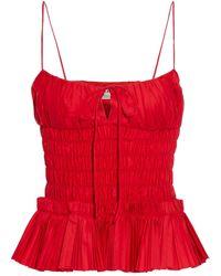 Khaite Dagny Shirred Pleated Cotton-poplin Top Red