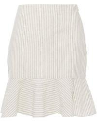 Vanessa Bruno - Natty Fluted Striped Cotton-gauze Mini Skirt - Lyst