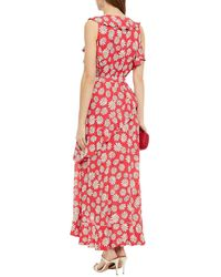 Boutique Moschino Wrap-effect Ruffled Floral-print Crepe Midi Dress - Red