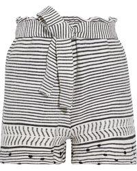 lemlem Maya Belted Cotton-blend Jacquard Shorts Ivory - White