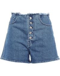 7 For All Mankind - 7 For All Kind Frayed Denim Shorts Mid Denim - Lyst