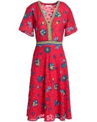 Ba&sh - Woman Floral-print Fil Coupé Dress Claret - Lyst