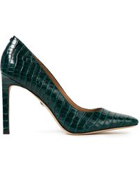 Sam Edelman Beth Croc-effect Leather Court Shoes Forest Green