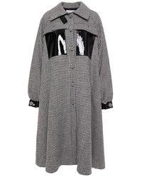 REMAIN Birger Christensen Odette Patent Leather-trimmed Houndstooth Wool-blend Coat - Black