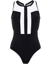 Jets by Jessika Allen Classique Open-back Two-tone Swimsuit - Black