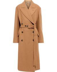 Stella McCartney Double-breasted Belted Wool-felt Coat - Brown