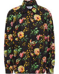 MSGM Floral-print Cotton-poplin Shirt - Black