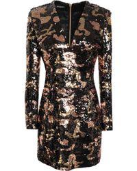 Balmain - Woman Sequined Satin Mini Dress Rose Gold - Lyst