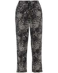 Joie Cropped Leopard-print Crepe De Chine Tapered Trousers - Black