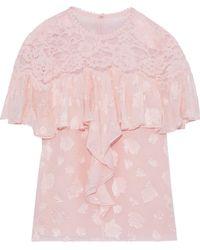 Rebecca Taylor Corded Lace-paneled Ruffled Fil Coupé Silk-blend Blouse Blush - Pink
