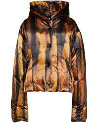 MM6 by Maison Martin Margiela Oversized Printed Satin Hooded Down Jacket - Black