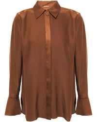 Elie Tahari Safiya Satin-paneled Silk-cady Shirt Brown