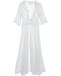 We Are Leone Ruffle-trimmed Printed Silk-georgette Jacket White