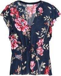 Joie - Woman Crisbell Floral-print Silk Top Navy - Lyst