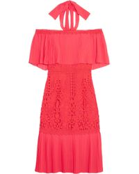 Temperley London | Berry Off-the-shoulder Chiffon And Guipure Lace Dress | Lyst
