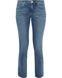 AMO Kate Cropped Mid-rise Slim-leg Jeans Mid Denim - Blue