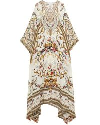Camilla Cutout Crystal-embellished Silk Crepe De Chine Kimono Ivory - White