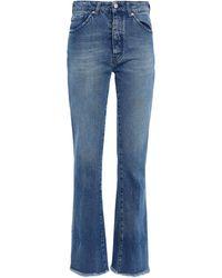IRO Nabo Distressed High-rise Flared Jeans Mid Denim - Blue