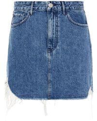 3x1 Distressed Denim Mini Skirt - Blue