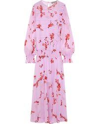 Preen Line Gilda Ruffle-trimmed Floral-print Chiffon Maxi Dress Pink