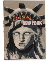 Olympia Le-Tan New York Appliquéd Embroidered Canvas Clutch Mushroom - Multicolor