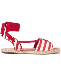 Zimmermann Lace-up Striped Cotton-canvas Espadrille Sandals Red