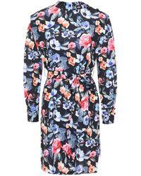 Rebecca Minkoff Belted Floral-print Woven Mini Dress Black