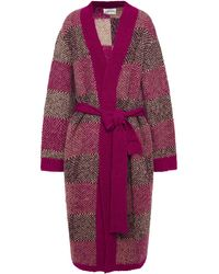 Antik Batik Arthur Belted Jacquard-knit Alpaca-blend Cardigan - Purple