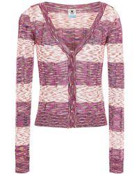 M Missoni Striped Crochet-knit Cardigan - Purple