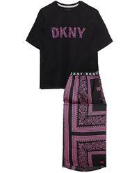 DKNY Vintage Fresh Cropped Printed Cotton-blend Jersey And Crepe De Chine Pyjama Set Black