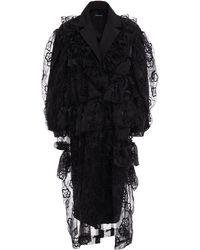 Simone Rocha Embroidered Ruffled Organza Coat - Black
